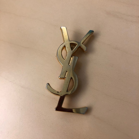 62cac87a49c Yves Saint Laurent Accessories | Vintage Gold Ysl Logo Pin Brooch ...